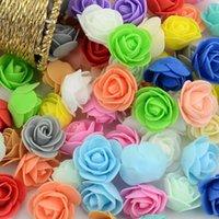 Fiori decorativi Corone 500pcs 3cm Mini Mini Artificiale PE Schiuma Rose Flower Teste di fiori per la decorazione della casa di nozze fatta a mano Falso pallina palla festeggia