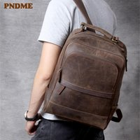 Backpack PNDME High Quality Men's Vintage Genuine Leather Casual Simple Travel Bagpack Outdoor Bookbags
