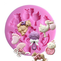 7.8 * 7.8 * 1 cm 3d bambino cavallo orso orso torta in silicone stampo turno zucchero torta stampo cupcake gelatina caramella caramella decorazione di cioccolato sn1965