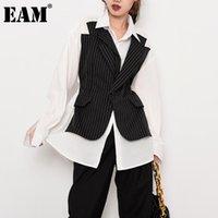 [EAM] Kadınlar Siyah Çizgili Split Mizaç Bluz Yeni Yaka Uzun Kollu Gevşek Fit Gömlek Moda Gelgit İlkbahar Sonbahar 2021 1w02201