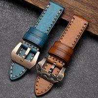 Watch Bands Handmade Leather Watchband 20 22 24 26MM Rubbed Soft Top Layer Strap Suitable For PAM111 441 Thick Men's Bracelet
