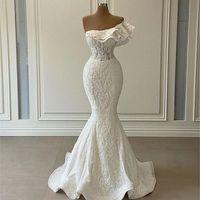 2022 Elegant One Shoulder Mermaid Wedding Dresses Luxury Ruffles White 3D Lace Appliqued Plus Size Bridal Gowns Robe De Mariage