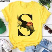 Желтая футболка Женщины 2020 Новое лето с коротким рукавом S летер принт моделя леди топ футболки женские женские графические женские футболки Tee C0220