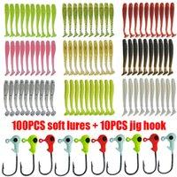 110pcs / lot Jigs Gancio di piombo Gancio morbido Set Silicone Tail Swimbaits Bait artificiale Bait 10 Colori Bass Carpa Wobblers Kit di attrezzatura da pesca