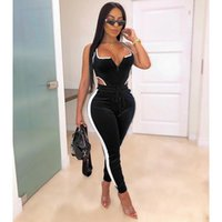 Women's Jumpsuits & Rompers Autumn Spring Velvet Striped Splicing Side Jumpsuit Streetwear Party Long Sleeve Cut Out Bodysuit Sexy Romper Pl