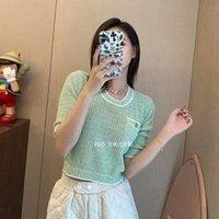 Mint grün gestreifter Pullover Lady T-shling Sleeve Frühling 2021 Socialite Temperament All-Match-Rundkragen kurze Bluse-Frau