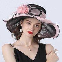 Mulheres verão igreja chapéu organza larga borda sol ladeis fascinator para kentucky derby casamento casamento vestido festa 210531