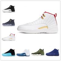 [مع صندوق] 12    Air Jordan 12 Gold AJ12 shoes ثانية أعلى جودة أحذية كرة السلة jumpman إمرأة رجالي أحذية رياضية الحجر الأزرق جامعة الذهب ovo المدربين حجم الولايات المتحدة 6-11