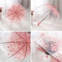 Зонтики романтические прозрачные прозрачные цветы пузырь купола зонтик наполовину автоматический для ветра сильный дождь