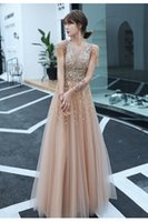 Handmade Sequined Dresses Tulle Gowns For Prom Elegant O-neck A-line Champagne Long Evening Luxury Special Occasion graduation