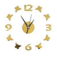Horloges murales 2021 Haute Qualité Style européen Homal Homode Creative Acrylique Miroir Numéro de papillon Number Sticker Décoratif
