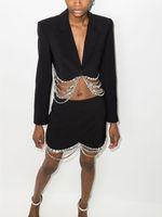 Women's Two Piece Sets pure color teo-piece dress rhinestone chain decorate patchwork black suit+short bag hip skirt fashion big V-neck lapel uniform