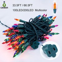 US Plug Christmas Tree Light 100leds 200leds LED String lights UL Certified Green Wire Holiday Fairy Lamp For Xmas Patio Wreath Garland Garden Decoration