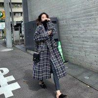 Women's Wool & Blends Elegant Plaid Long Coat Women Office Coats Basic Winter Warm Minimalist Lady Woolen Blend Overcoat