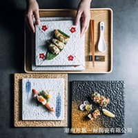 Dishes & Plates Sushi Plate Japanese Creative Ceramic Sifang Barbecue Flat Restaurant Square
