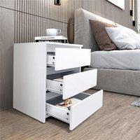 США Местный склад 2021 Новый простые белые домашние офисные тумбочки Трехэтажный сундук LS657942384-01