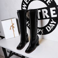 Women Sexy club leather Boots luxury designs Ladies Pumps Red Bottom High Heels platform Booty Black Square head front zipper