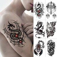Impermeabile Tatuaggio Temporaneo Autoadesivo Drago Ala Croce Flash Tatto Tatto Lupo Scorpione Totem Body Art Braccio Braccio Braccio Trasferimento acqua Falso Tatoo Uomo