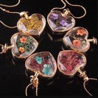 Форма сердца Murano Lampswork стекло подвески ароматерапия кулон ожерелья ювелирные изделия сухие цветы духи флакон бутылки подвески
