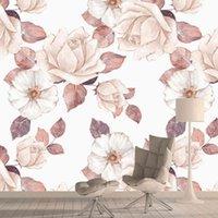 사용자 정의 3D 핑크 로즈 하우스 장식 3D 배경 벽화 벽화 거실 벽면 벽 종이 접촉 껍질 스틱 벽돌 자연 롤 Q0723