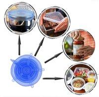 Neu1 Set Silikon Stretch Saugtopf Deckel 6 teile / satz Lebensmittelqualität Frische Halten Wrap Seal Deckel Pfanne Abdeckung Küchenwerkzeuge Zubehör EWF5428
