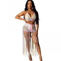 Donne Costume da bagno Donne Lace Up Bra e Tassel Gonne Bikini Swimwear Set Colori estivi Stampa Spiaggia Hollow Beach Sexy Gonne Cover Up Y0310