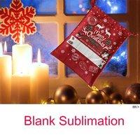 Latest Canvas Sublimation Santa Sack Cartoon Elk Snowflake Christmas Decoration Apple Candy Gift Bags with Drawstring BWE9704