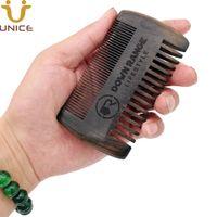 MOQ 50 PCS Premium Personnalisé Personnalisé Logo Sculpté Cheveux / Beard Peigne Black Wood Hommes Fine Dents Fine Mélange Ebony Blackwood Haires