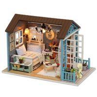 CuteBee بيت الدمية مصغرة diy دمية مع خشبي منزل الأثاث اللعب للأطفال هدية عيد Z07 Q0624
