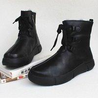 Womens Stiefel Winter Schneeschuhe 100% Echtes Leder Fleece Frau Knöchelstiefel Lace Up Platform Rutschfeste Weibliche Schuhe J639 #