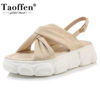 TAOFFEN Plus Size 29-43 Women Sandals Platform Open Toe Shoes Buckle Ankle Strap Elastic Leisure Fitting Daily Footwear 210610