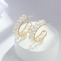 Hoop & Huggie Flashbuy Trendy Korean C-Shaped Geometric Crystal Earrings For Women Circle Round Twist Statement Elegant Jewelry