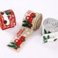 크리스마스 장식 5M 리본 선물 포장 웨딩 장식 머리카락을위한 삼 베 리본 인쇄 머리 장식