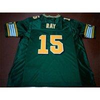 001 Edmonton Eskimos # 15 Ricky Ray White Green Real Full Stickerei College Jersey Größe S-4XL oder Benutzerdefinierte Name oder Nummer Jersey