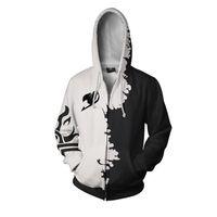 요정 꼬리 3D 인쇄 후드 지퍼 애니메이션 스타일 후드 스웨터 남성 여성 코스프레 풀오버 패션 까마귀 겉옷 코트