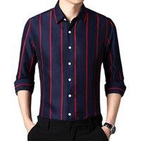 Männer Casual Hemden QJ Cinga Rot Streifen Hemd Männer Einreiher Revers Blau Weiß Schwarz Grau Green Camisa Große Größe Chemise S-5XL
