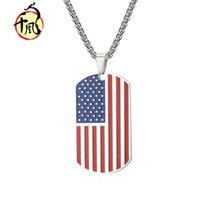 Titanium steel national flag pendant American Star Spangled Banner military tagJ7M3