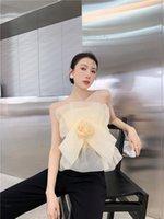2021 Neue Design Frauen Sommer Gaze Stoff Rose Blume Sleeveless Tube Top Weste Tanks Camisole SM