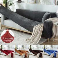 Chair Covers Solid Color Thick Velvet Sofa Universal Stretch Elastic Couch Slipcovers Sectional Plush Warm 1 2 3 4 Seater