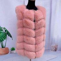 Fur faux fur fox vest ladies winter autumn coat fluffy jacket women shaggy s s Q0827