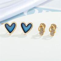 Stud 1 Pair Shiny Heart Slippers Earrings For Women's Gift Jewelry Vintage Bling Metal Zircon Geometric Pierced Earring E131