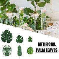 Dekoratif Çiçekler Çelenkler 90 ADET 6 çeşit Yapay Palmiye Orman Parti Plaj Doğum Günü Için Tropikal Süslemeleri Yaprakları Luau Hawaiian