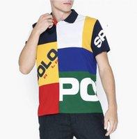 Большой размер Американская вышивка поло рубашка мужская вышитая с коротким рукавом хлопок