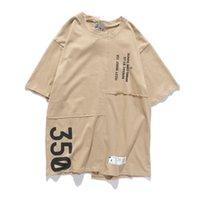 Kanye West Spoof 비대칭 남성 여성 여름 티셔츠 힙합 스트리트웨어 카키 대형 탑스 티셔츠 캐주얼 편지 인쇄 티셔츠