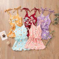 Enfants Beaux Girls Girls Daisy Fleurs Imprimer Romper Enfants Chrysanthemum Sling Jumpsuits Été Mode Boutique Vêtements de bébé Z3205
