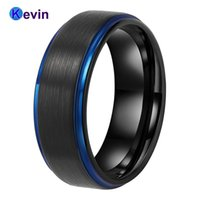 Wedding Rings Mens Black Tungsten Band For Women With Blue Step Edges Comfort Fit