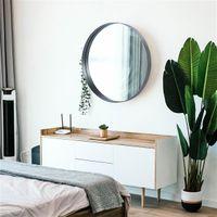 """Espelhos 24 """"Round Black Modern Luxury Hanging Hanging Hotel Decorativo Decorativo Personalizar Sala de Estar Parede de Ouro Antigo"""