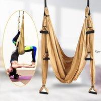 Maerial Yoga Swing Anti-Gravidade Areia Hammock Conjunto com Correia de Extensão e Saco de Transporte Flying Home Ginásio Pendurado Partido Favor HHF9386
