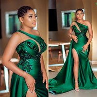 2021 Arabic Sexy Dark Green Mermaid Prom Dresses One Shoulder Illusion Sequined Lace Appliques Side Split Satin Sweep Train Aso Ebi Evening Gowns Vestidos