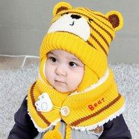 귀여운 만화 곰 디자인 스카프 모자 아기 키즈 스트라이프 니트 양모 모자와 스카프 여자 소년 비니 겨울 따뜻한 2PC 세트